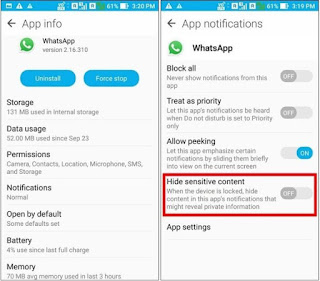 hide sensitive content whatsapp