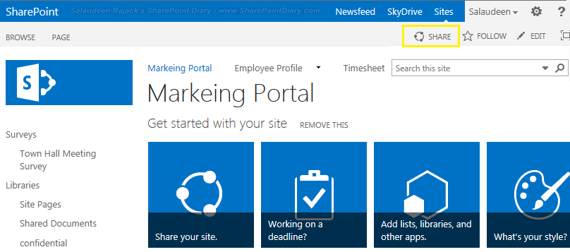 "What is ""Share"" in SharePoint 2013?"