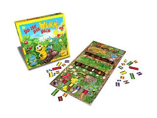 Imagen del juego de mesa Da ist der Wurm drin  en desarrollo con el tablero montado