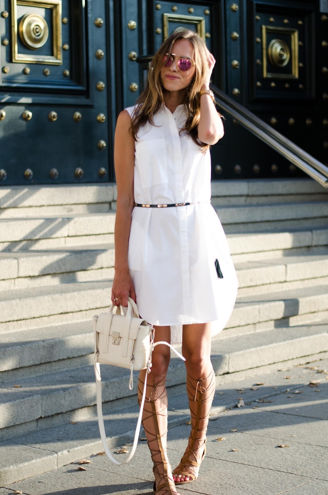 kristjaana mere white shirt dress summer outfit