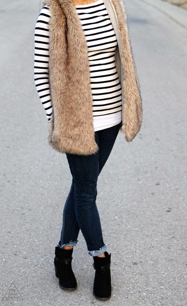 Hooded vest and stripes, dark denim and black ankle boots