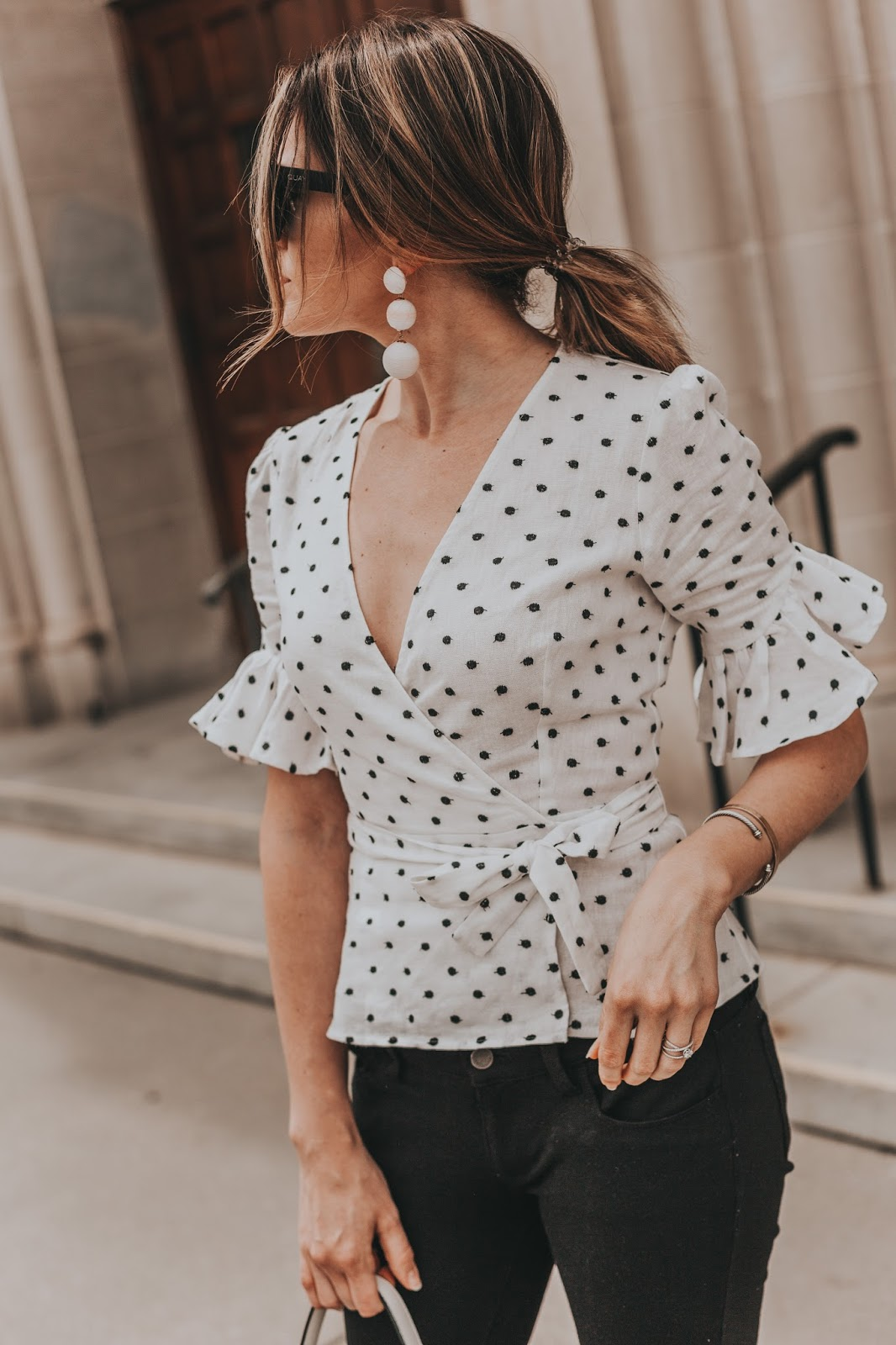 Polka Dot Wrap Top by popular Colorado fashion blogger, Leah Behr