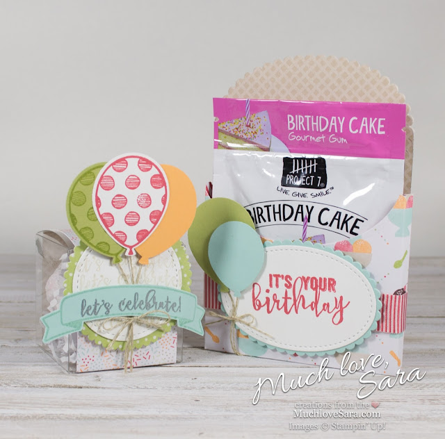 Tiny Birthday Gifts | Made with Stampin' up Tasty Treats DSP and Balloon Adventures Stamp Set