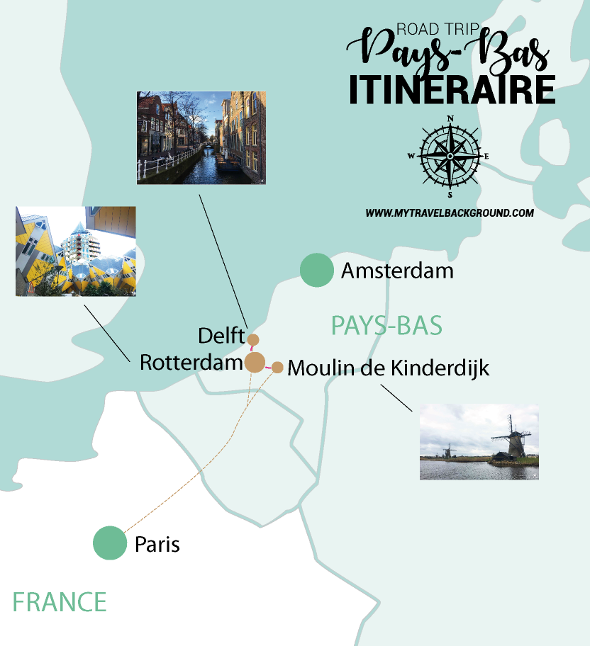 My Travel Background : carte road trip aux Pays-Bas, Rotterdam et Delft