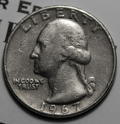 Obverse of 1967 Washington Quarter, Liberty, In God We Trust
