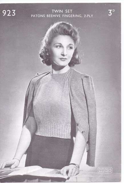 The Vintage Pattern Files: Free 1940s Knitting Pattern - Bestway Cable Twin Set