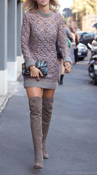buty za kolano, overknne boots, kozaki za kolano, moda jesień, street style, street style jesień, buty, jak nosić,