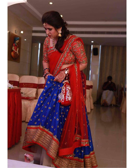Bride in Shilpa Reddy Half Saree