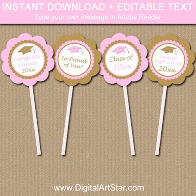 editable printable pink and gold graduation cupcake toppers
