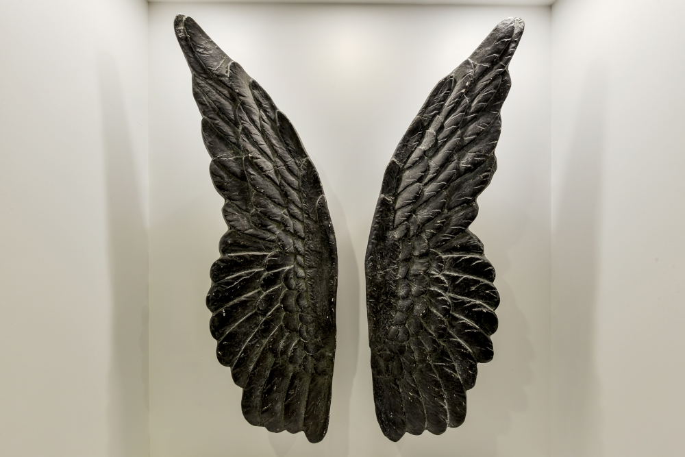 wood wings sculpture