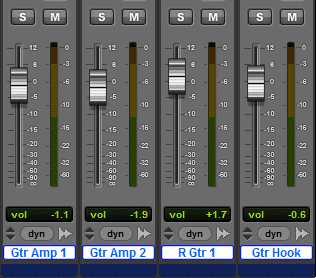 A section of the Pro Tools Mix Window with all tracks selected.