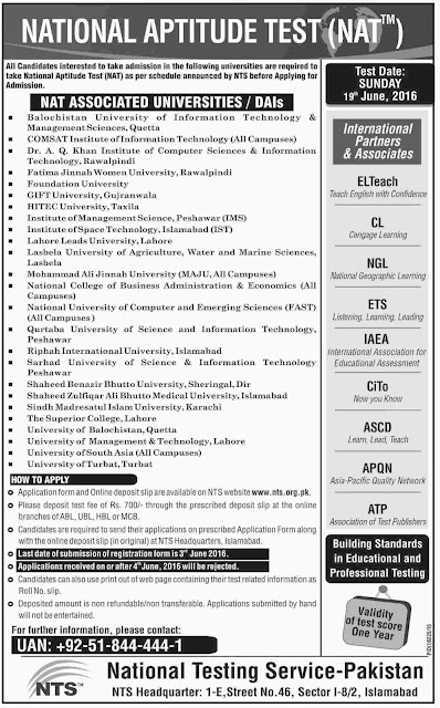 NTS National Aptitude Test for Nat Associated Universities NAT 2016