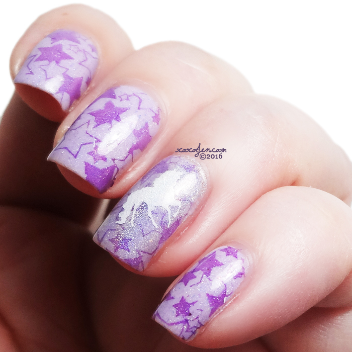 xoxoJen's swatch of Unicorn and Star Nail Art