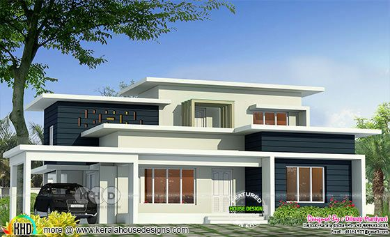 Rendering of a super flat roof contemporary home