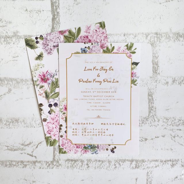 Hydrangea Themed Church Wedding Invitation Card  Alor Setar Malaysia