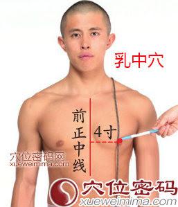 乳中穴位 | 乳中穴痛位置 - 穴道按摩經絡圖解 | Source:xueweitu.iiyun.com