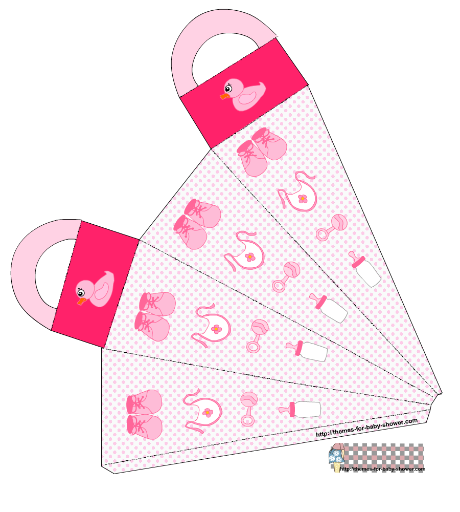 Girl Baby Shower, Free Printable Cones Box.
