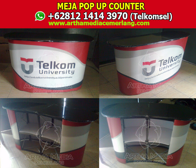 Pop Up Counter Plugs, Desain Meja Display, Harga Meja Promosi Portable