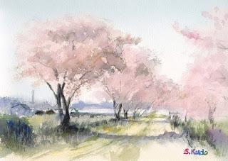 水彩スケッチ「桜」(Cherry blossoms)