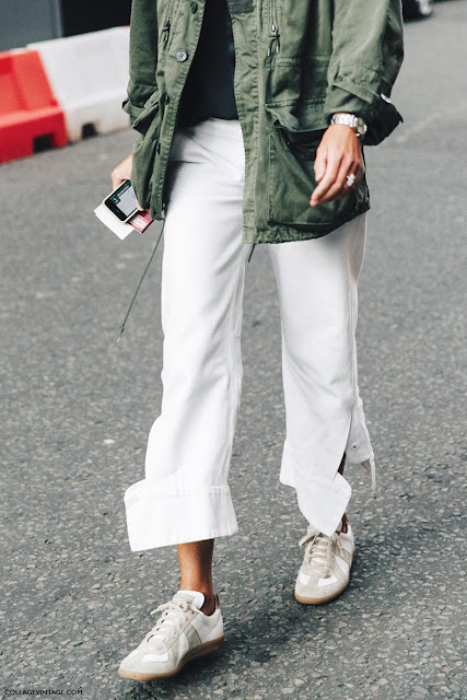 London Fashion Week Spring-Summer 2016 - Parka + White Trousers + Sneakers