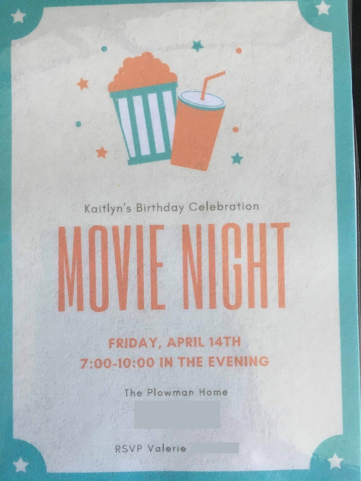 Movie Night Birthday Party - Chronicles of a Babywise Mom