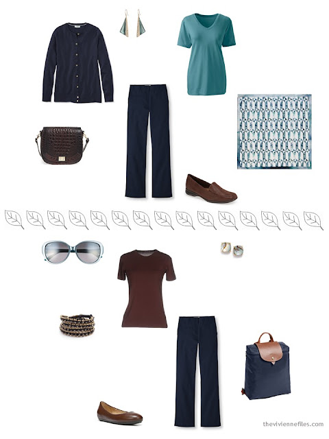 2 ways to style navy trousers for a summer vacation