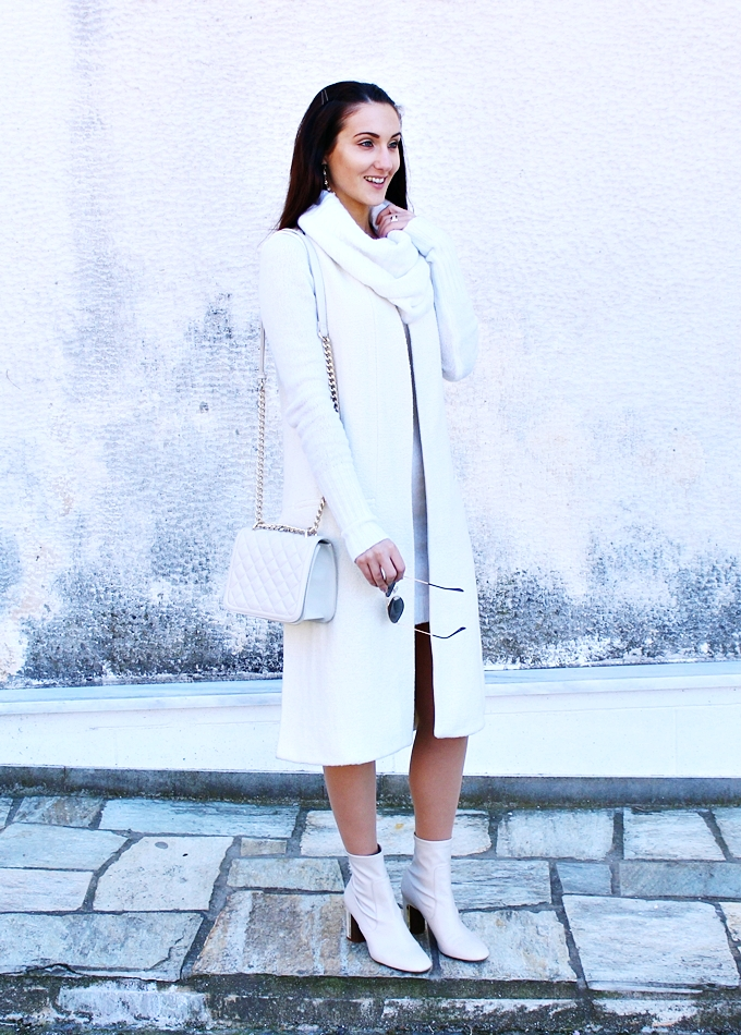 Zara white coat, white dress,white booties and white purse