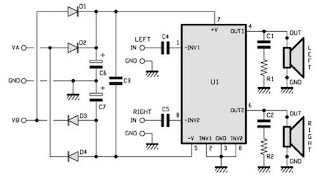 2x15w stereo power amplifier circuits with TDA1521