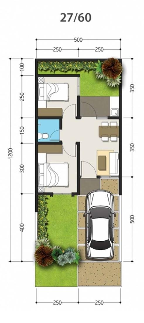 Denah rumah minimalis ukuran 5x12 meter 2 kamar tidur 1 lantai
