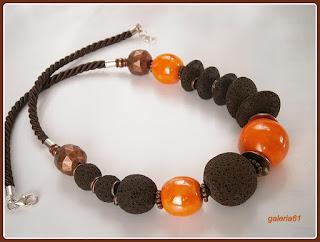 naszyjnik i kolczyki _ brązowy i pomarańczowy, lawa, pandora, porcelana