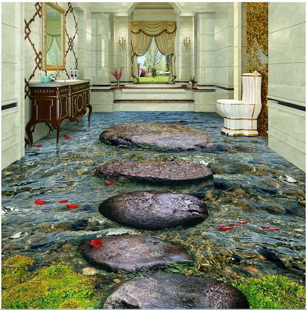 big rocks PVC waterproof 3d mural for bathroom floor, waterproof pvc floor in 3d