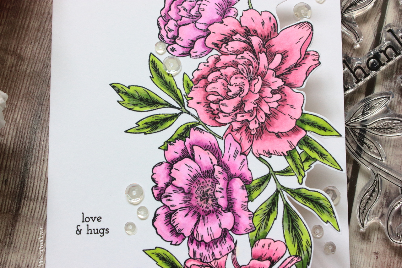 Little crafty pill flower edge card stamptember 2018 party as you can see i created a one layer edge card with the big stamp of flowers i intended to do partial die cutting to make it easier buuutwell izmirmasajfo