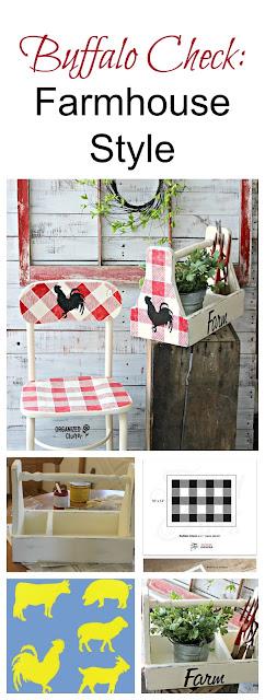 Buffalo Check Farmhouse Style Toolbox #oldsignstencils #buffalocheck #farmhousestyle