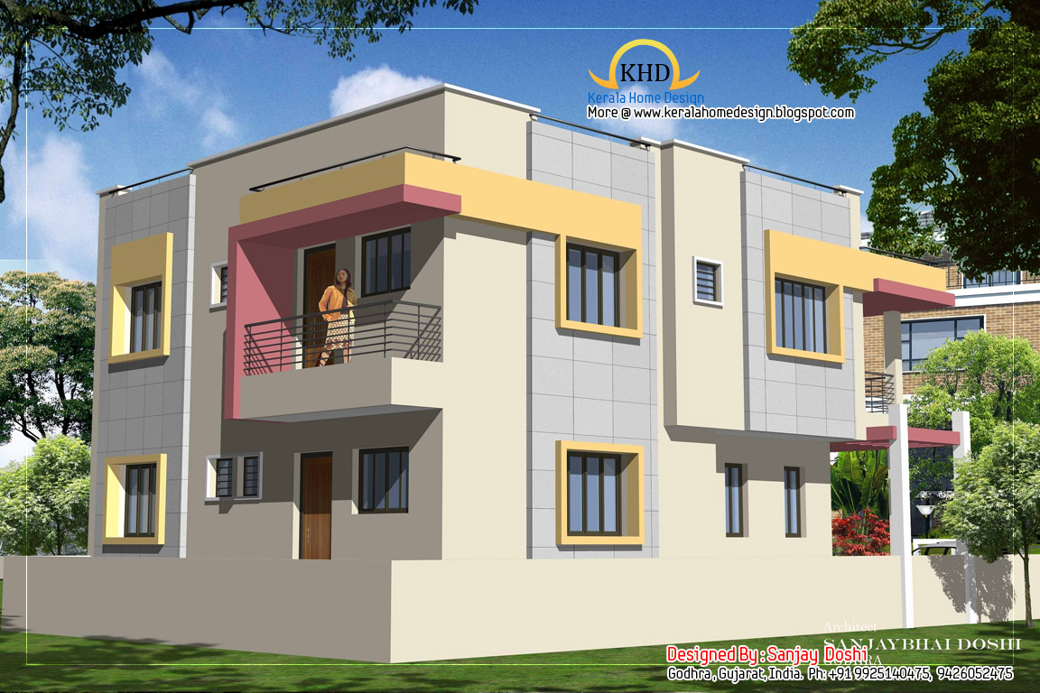 Duplex house plan and elevation 2310 sq ft kerala for Home plan elevation