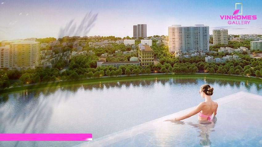 Bể bơi đầy đủ tiện ích tại dự án chung cư Vinhomes Gallery Giảng Võ