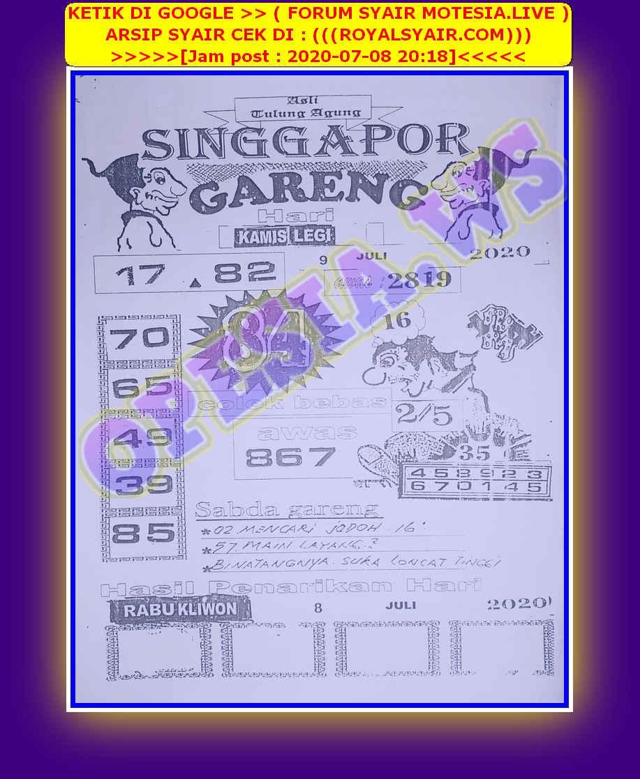 Kode syair Singapore Kamis 9 Juli 2020 10