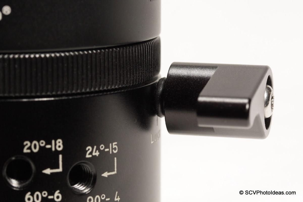 Sunwayfoto DDP-64MX top platform Lever Lock-knob detail