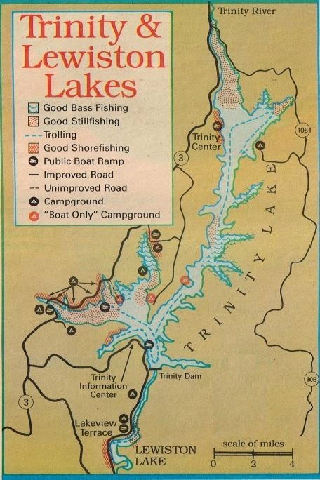 how to fish trinity and lewiston lakes, fishing map and fishing report