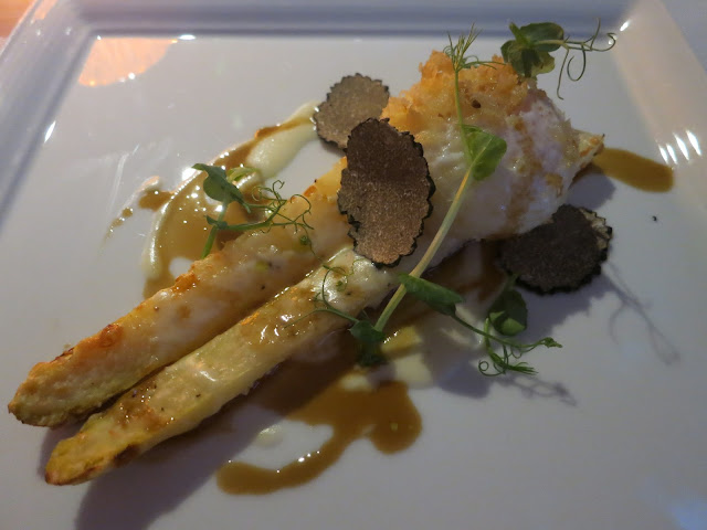 Baked White Asparagus with Egg Milanese and Veal Jus