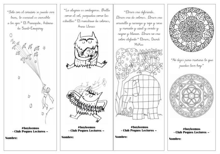 marcapaginas para descargar, imprimir y colorear niños