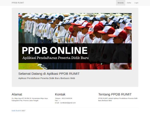 Halaman Utama Aplikasi PPDB Online dengan PHP, MySQL, Html, CSS