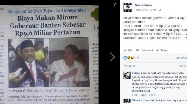 GILA..!!! Biaya Makan Minum Gubernur Banten Rano Karno Capai Rp 9,6 Miliar Per Tahun