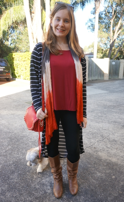 red and orange skinny jeans boots winter outfit | Away From The Blue