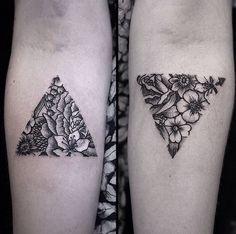 Triangle Flower Matching Tattoos