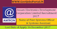Assam Electronics Development Corporation Limited Recruitment 2017– 40 Systems Officer & Systems Assistant