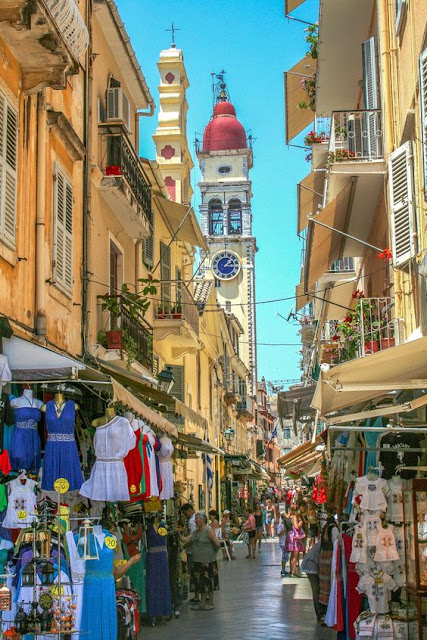 Corfu Town, Corfu Tower of  St. Spyridon Greece