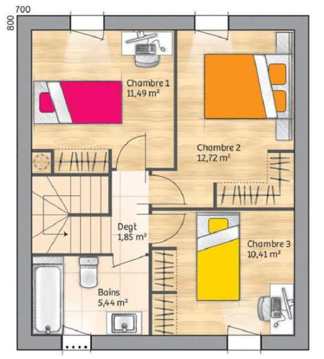 Plano de casa de 110 m2 planos de casas gratis y for Hacer planos de habitaciones