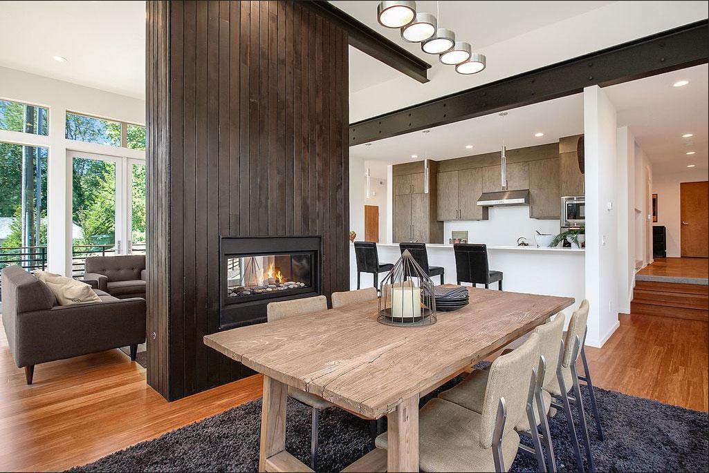 Doppelseitige Kamine Holz Verkleidung Zeitgenössische Design Als Raumteiler