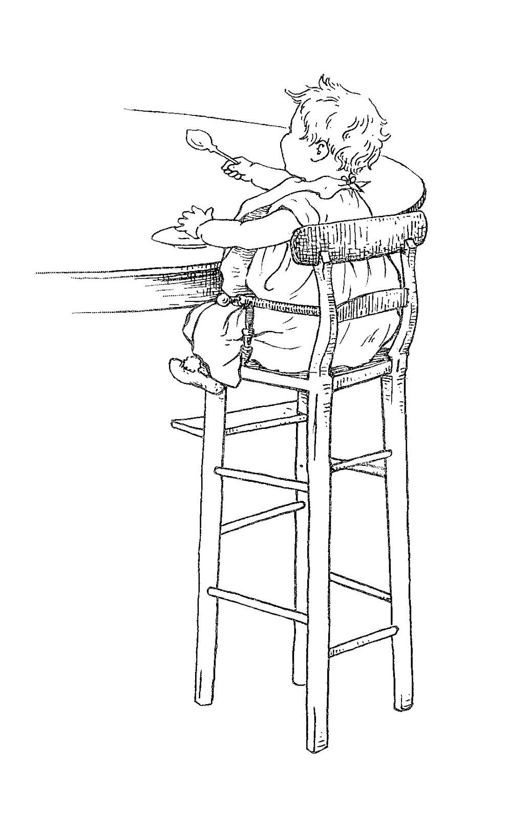 baby highchair illustration download vintage - Digital Stamp Design: Free Vintage Baby Digital Clip Art High Chair