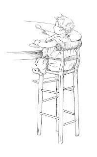 baby highchair illustration download vintage